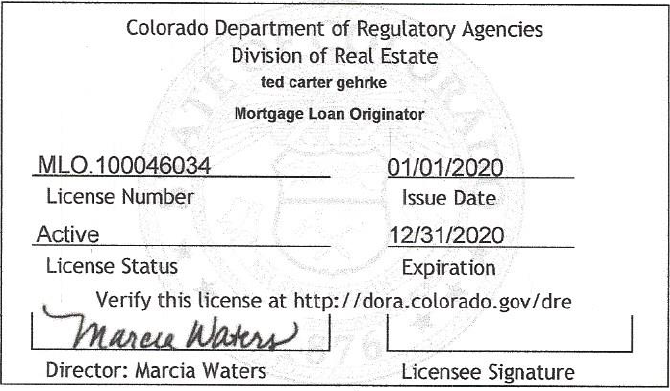 Colorado MLO License Number - 100046034